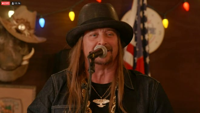 Kid Rock performs to close his his virtual 50th birthday hangout, streamed from Whites Creek, Tenn., on Jan. 17, 2021.