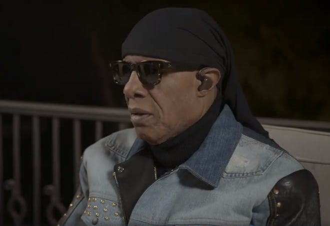 """Stevie Wonder appears on video reciting his """"Open Letter to Dr. King"""" on Jan. 18, 2021."""