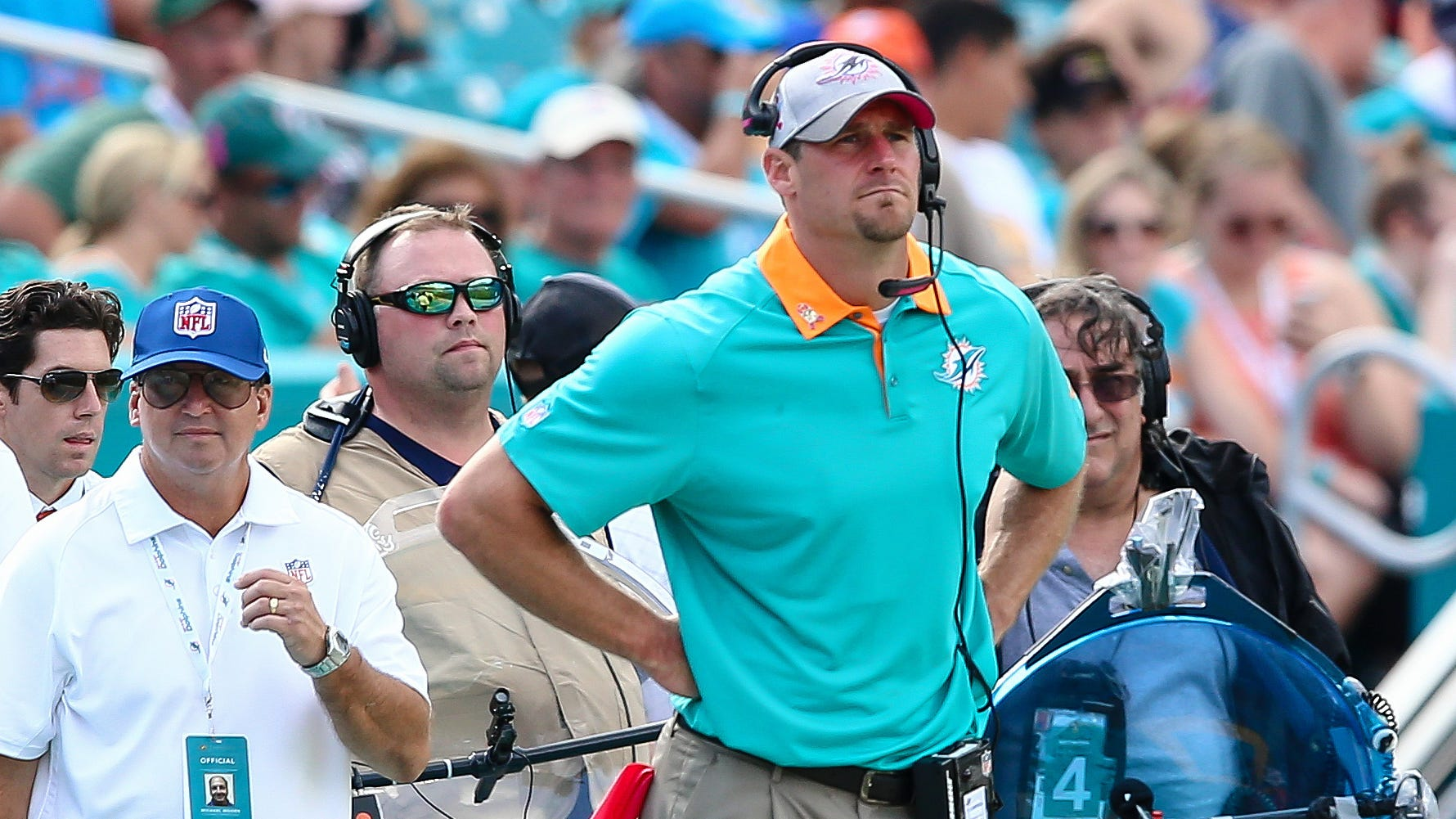 Miami Dolphins interim head coach Dan Campbell during the game against the Houston Texans, Oct. 25, 2015.