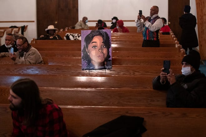 A portrait of Breonna Taylor sits alone in the church pews during Martin Luther King, Jr. Day services at King Solomon Missionary Baptist Church on Monday. Jan. 18, 2021