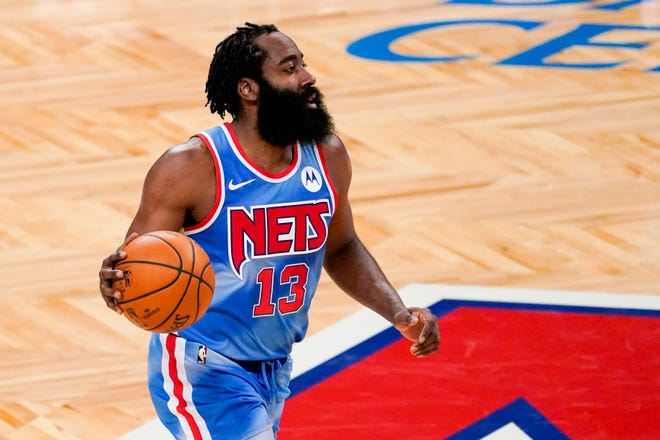 Brooklyn Nets guard James Harden handles the ball during a game against the Orlando Magic on Jan. 16.