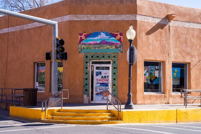 Western New Mexico University student art work is showcased in a popup gallery at the corner of Bullard Street and Broadway Avenue in downtown Silver City.