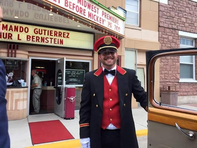 New Dells Theatre owner Brian Andersen served as a doorman at the 2015 Midwest premier of 'Walt Before Mickey' in Dell Rapids.