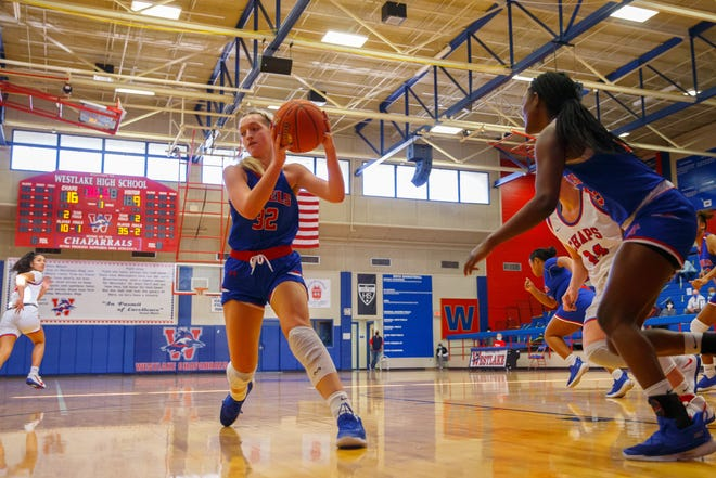 Trista Strasser, a senior center for Hays, had a double-double of 21 points and 14 rebounds and added six blocks to lead the Rebels to a 66-36 win over Del Valle last week.