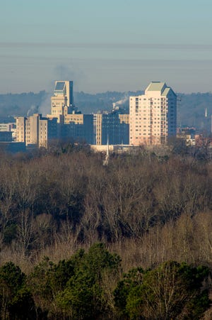 The Augusta, Ga., skyline as seen from North Augusta, SC Tuesday morning January 19, 2021.