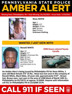 Pennsylvania State Police have issued an Amber Alert for 1-year-old Nova White, of Philadelphia.