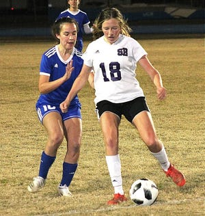 South Beauregard's Emma Harris (18) had two goals and an assist on Monday in the Lady K's district win over Buckeye, 7-0.