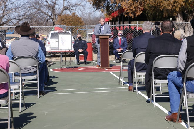 Howard Payne University president Dr. Cory Hines speaks during the Martin Luther King Jr. observance Monday in Brownwood.