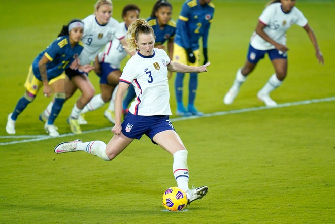 United States midfielder Samantha Mewis scores on a penalty kick against Colombia.