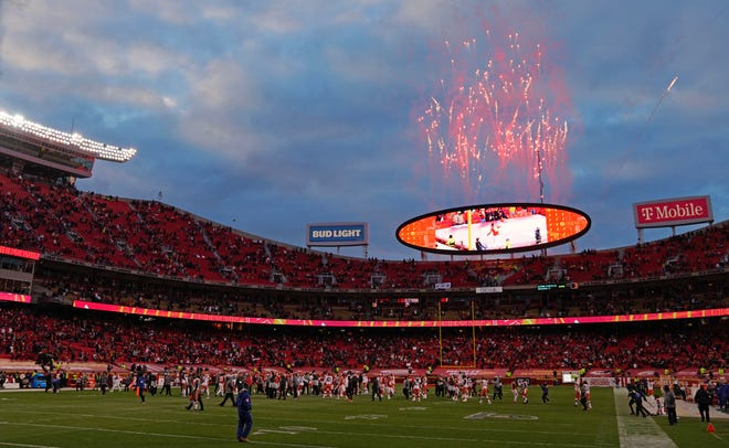 Fireworks are seen over Arrowhead Stadium after an NFL divisional-round playoff game between the Kansas City Chiefs and Cleveland Browns on Sunday in Kansas City. The Chiefs won 22-17.