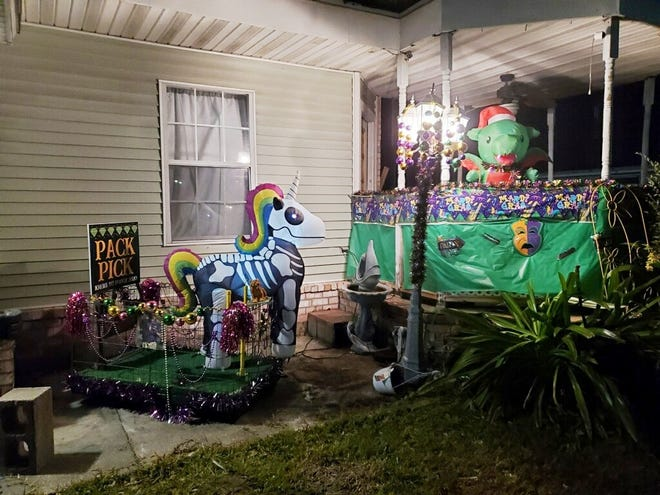 "The front porch of Michelle Haydel decorated for the ""Yardi Gras"" contest in Houma."