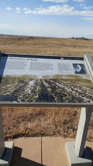 The storyboard on the walkway north of the kiosk at the Howell rut site located west of Howell on Highway 50.