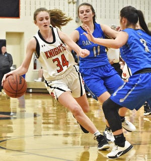 North Davidson's Emily Hege, shown here against Oak Grove on Jan. 17, 2020, scored 27 points in the Black Knights' 61-34 over the Grizzlies on Friday. [David Yemm for The Dispatch]