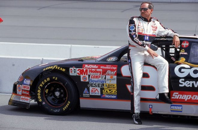 Dale Earnhardt is forever linked with the iconic black No. 3 Chevy, but the NASCAR legend drove many car makes under many numbers and paint schemes over his career. The black paint scheme was introduced for the 1988 season.