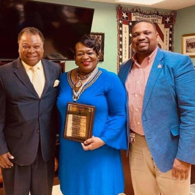 Wanda August, pictured with Donaldsonville Mayor Leroy Sullivan and Donaldsonville High Principal Marvin Evans, received an honor as a River Parishes leader.