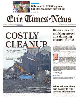Page 1A of the Erie Times-News for Jan. 19, 2021. The e-edition version of the Times-News is open for all visitors through 11:45 p.m. Jan. 19, 2021.