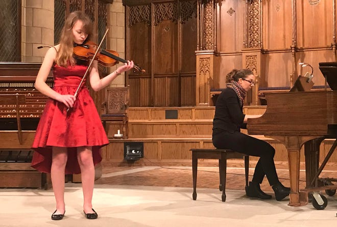 Trinity Steff, the Erie Junior Philharmonic's 2020 Concerto Competition winner, records a performance with pianist Sarah Kahl that will be available online Monday.
