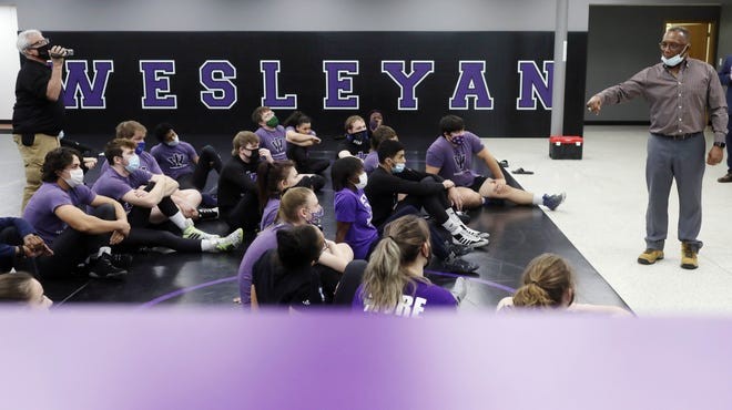 Nate Carr a three-time national champion wrestler for Iowa State University speaks to members of the men's and women's Iowa Wesleyan University wrestling team, Monday Jan. 18, 2021 in the Willis Wrestling facility in Mount Pleasant. Carr was on the campus of Iowa Wesleyan University on Monday to speak to the men's and women's wrestling teams and the Tigers' football team to encourage them and lift them up in a Martin Luther King, Jr. Day talk.