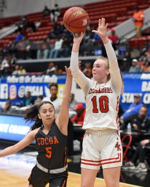 Bishop Kenny's Maddie Millar (10) shoots against Cocoa during the FHSAA state semifinals in 2020. Millar, a junior, was among three Bishop Kenny players to surpass a scoring milestone during a one-week span.