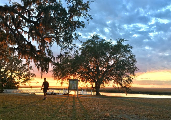 The sun sets on Cumberland Island National Seashore near the Plum Orchard mansion in January 2017.