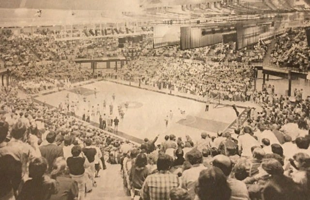 Fort Hays fans watch the Tigers beat Denver in the first sellout at Gross Memorial Coliseum on Jan. 20, 1981.