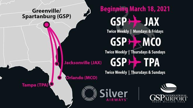 Silver Airways will begin offering nonstop flights to three Florida destinations starting March 18.