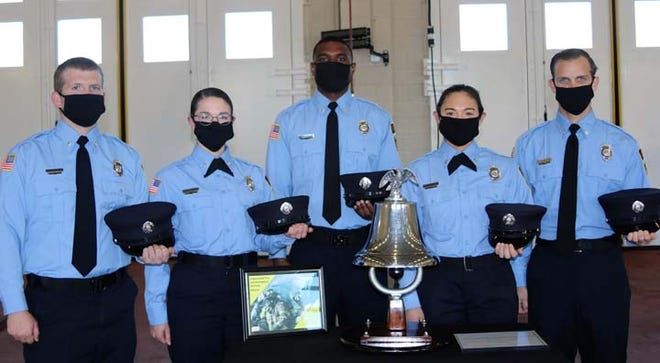 Five Jacksonville Fire and Emergency Services Fire trainees,Taylor Deland, Derick Gary, Carly Mourer, Reagan Roberts and Curtis Thompson were recently sworn in as Firefighters at an oath taking ceremony held at Jacksonville Station 1. Badges and fire insignia were pinned on and one by one, each Firefighter rang the Ceremonial Fire Bell to mark their entry to the fire service.