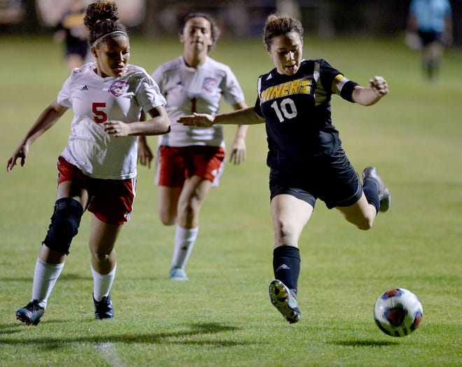 Fort Meade's Jackie Montes (10) scored 251 career goals, first in Polk County history and second all time in Florida.