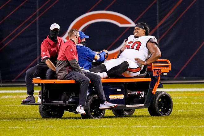 Vita Vea broke his ankle in a 20-19 loss to the Chicago Bears on Oct. 8. He's expected to rejoin the team for practice Wednesday.