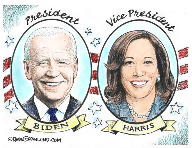 Dave Granlund cartoon on Biden/Harris administration beginning