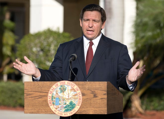 Gov. Ron DeSantis announces at a Publix in Jupiter Tuesday morning, January 19, 2021 that vaccinations against Covid-19 are coming to all all 67 Publix pharmacies in Palm Beach County.