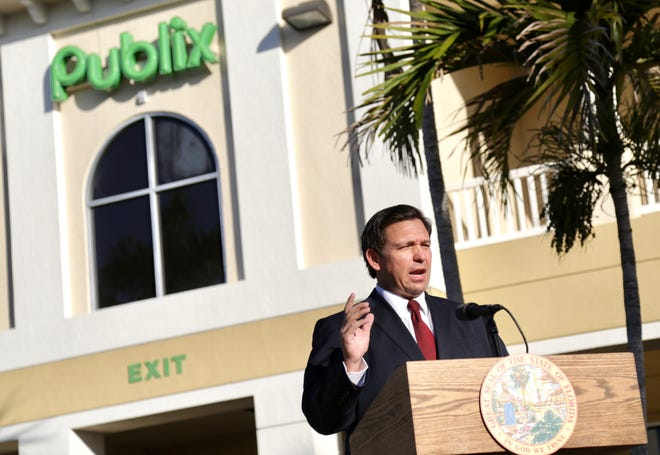 Gov. Ron DeSantis, in Jupiter, announcing on Tuesday that vaccinations against COVID-19 are coming to all 67 Publix Super Markets in Palm Beach County.
