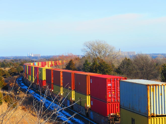 More trains, like this one at Wellington last week, could be coming to St. John soon, part of a transload facility under discussion by Stafford County leaders. The project has already received funding from the Kansas Department of Agriculture, and could bring more than 40 jobs to the area, if plans move forward.