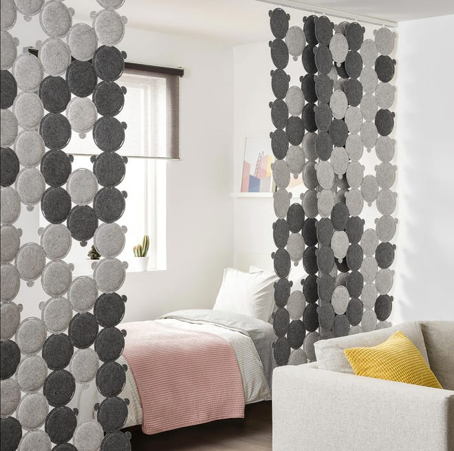 Oddlaug felt discs can be put together in any configuration to serve as sound-absorbing panels.