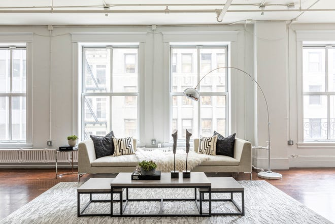 A low sofa allows for an unobstructed view.