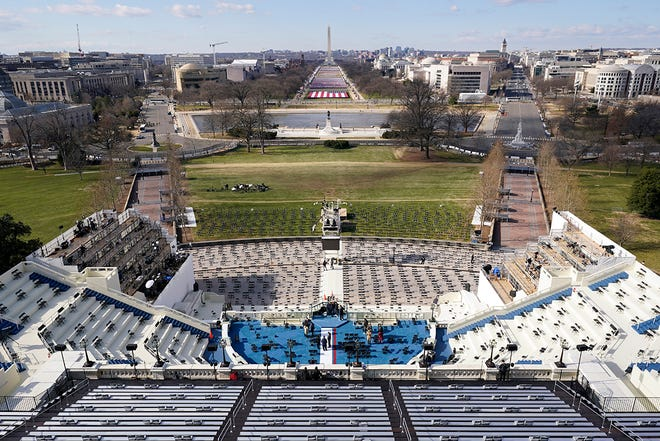 A view of the stage on Capitol Hill in Washington, where final preparations were being made on Tuesday ahead of Wednesday's inauguration of Joe Biden as the nation's 46th president.