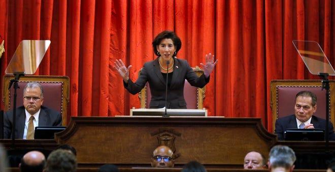 Gov. Gina Raimondo delivers her 2020 State of the State speech, with then-House Speaker Nicholas Mattiello, left, and Senate President Dominick Ruggerio in attendance.