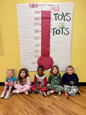 Students from the New Adventures Early Learning Centers in Twinsburg and Mantua recently donated 461 toys to Toys for Tots. They were distributed as gifts in Portage County and Summit County.