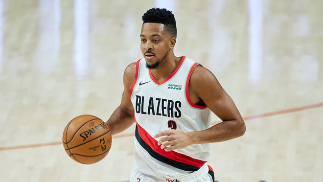 Portland's CJ McCollum, seen here in Saturday's game against Atlanta, was averaging a career-best 26.7 points per game before fracturing his left foot against the Hawks.