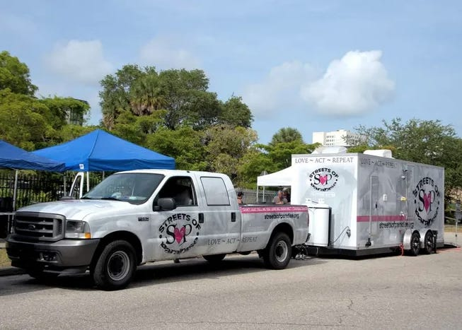 Streets of Paradise raised $60,000 through private donations in order to purchase this shower truck to provide hygiene services for homeless residents. The city of Sarasota said in August it isn't permitted and can no longer operate and has since worked to remedy the situation.