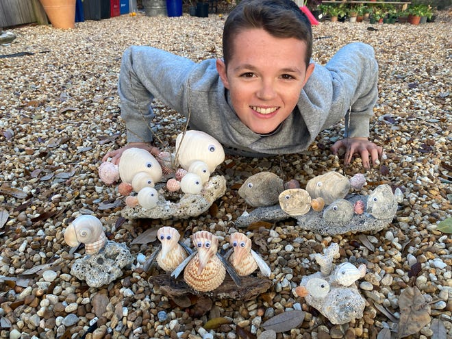 Douglas Hanna takes shells and turns them into whimsical creatures. His work will be for sale at the Bazaar on Apricot & Lime's Young Entrepreneur Market this weekend.