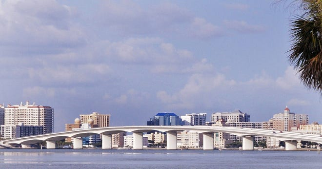 The John Ringling Bridge and downtown Sarasota from St. Armands Key in 2014. (Staff photo / Harold Bubil; 7-24-2014)