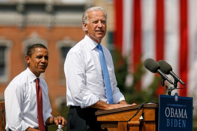 Sen. Joe Biden, D-Del., delivers his remarks along with Democratic presidential candidate Sen. Barack Obama, D-Ill., after Biden was introduced as ObamaÕs running mate during a campaign event at the Old State Capitol on Saturday, Aug. 23, 2008, in Springfield, Ill. [Justin L. Fowler/The State Journal-Register]