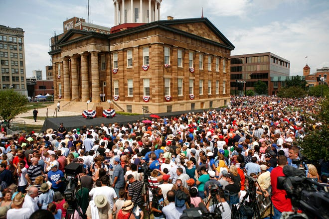 A massive crowd gathers at the Old State Capitol for Democratic presidential candidate Sen. Barack Obama, D-Ill., to introduce his running mate, U.S. Sen. Joe Biden, on Saturday, August 23, 2008, in Springfield Ill. The Sangamon Valley Collection is looking for photos to capture a day in the life of Sangamon County, which celebrates its bicentennial Saturday.