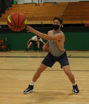 Wethersfield guard Coltin Quagliano practices basketball on Oct. 28 at the school's main gym.