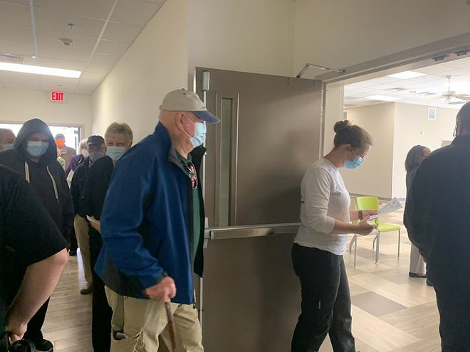 Group 2 waiting to get their COVID-19 vaccine at the New Hanover County Senior Resource Center.