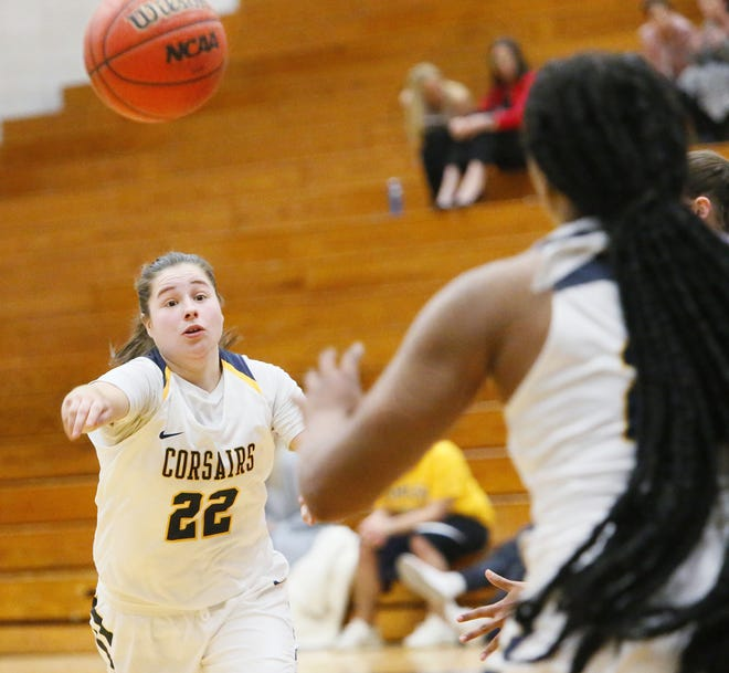 UMass Dartmouth's Ashley Brown, left, and the Corsairs will compete in nine regular season games this winter.