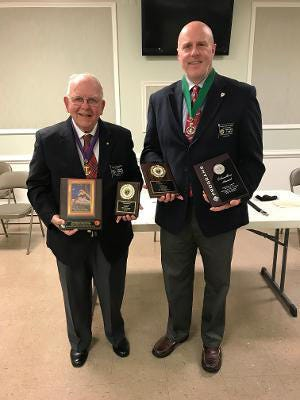 During the Dec. 1, Knights of Columbus Monsignor James R, Jones Council No. 3303 meeting, District Deputy Joe Banks presented several awards to Steve Harman, grand knight and Mike Lynch, past grand knight. Awards were presented for Columbian Years 2019-2020: Recognition Award - Charity Council; Columbian Award; Duane Russell Newsletter Award (Third Place) and Keep Christ in Christmas Campaign Award. Of note, these awards would have been presented to Council 3303 during the North Carolina Knights of Columbus State Annual Meeting earlier this year, but the meeting was cancelled due to COVID-19 restrictions. Pictured are Knights of Columbus, Steve Harman, grand knight and Mike Lynch, past grand knight. [CONTRIBUTED PHOTO]