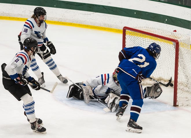 Lunenburg's Nathan Handy scores a goal during the Division 3A Central final against Hopedale last season.