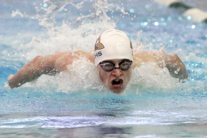 Dublin Jerome's D.J. Lloyd competes in the 100-yard butterfly during a virtual meet against Marysville on Jan. 8 at the Dublin Community Recreation Center. Several central Ohio programs have scheduled virtual meets to provide extra competition during a season in which attendance is limited and larger meets have been canceled because of the COVID-19 coronavirus pandemic.